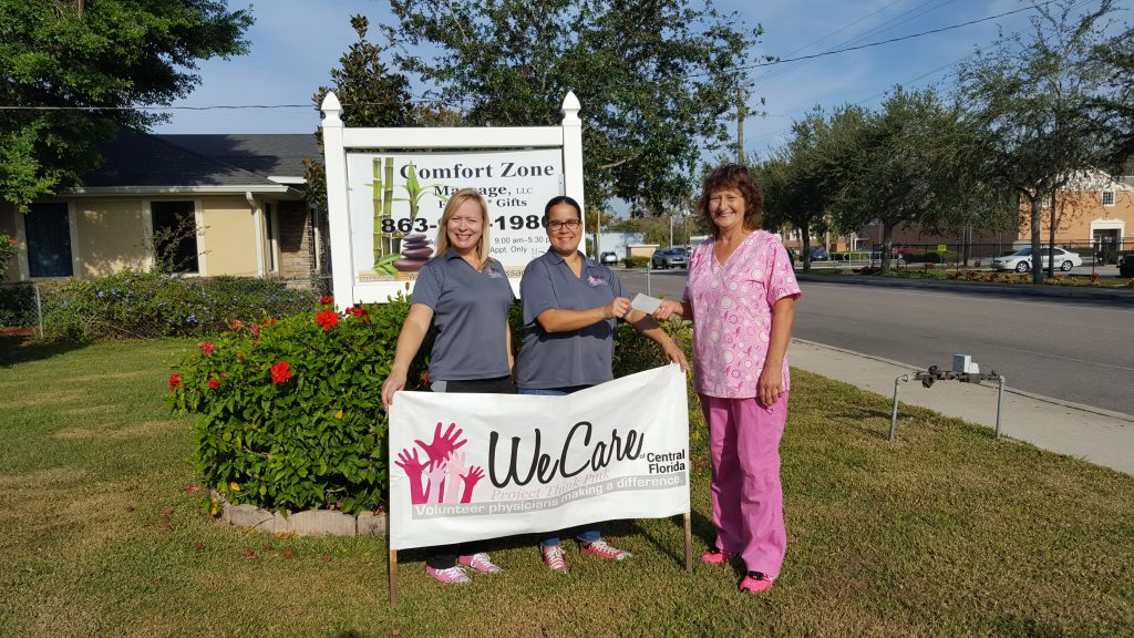 Comfort Zone Massage Donates $500 for Breast Cancer Awareness
